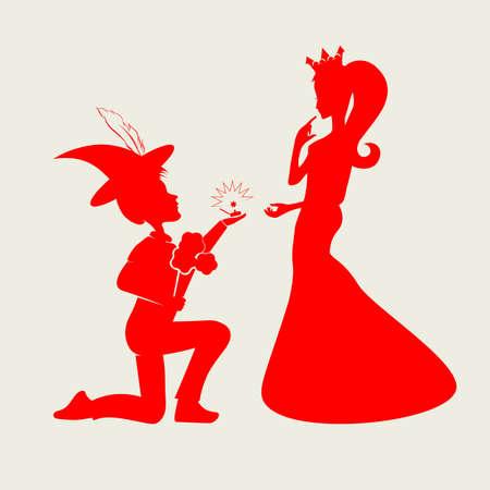 帽子をかぶった少年と王冠の少女のシルエット  イラスト・ベクター素材