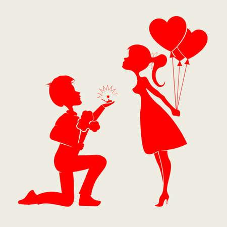 膝の上に立つ少年とボールを持つ女の子のシルエット  イラスト・ベクター素材
