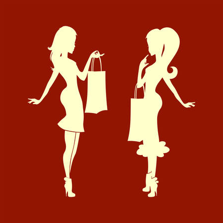 Silhouette of lady with bag on hand illustration on red background.