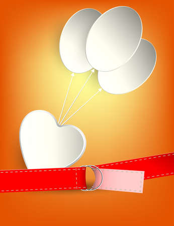 ハート、風船、ベルトのシルエットのデザイン  イラスト・ベクター素材