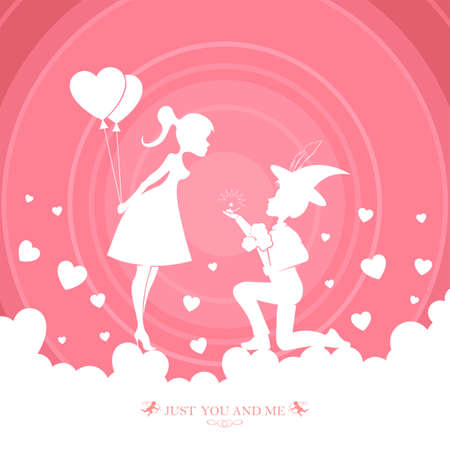 red design of silhouettes of two lovers, boy and girl with balloons Illustration