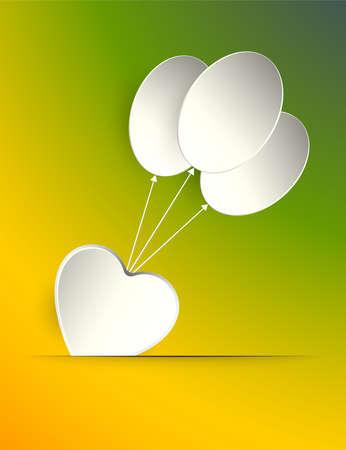 하트와 흰 풍선의 실루엣 디자인