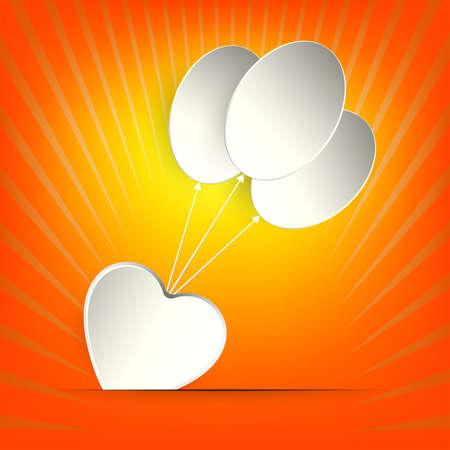 ハートと白い風船のシルエットのオレンジ色のデザイン