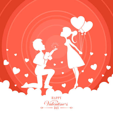 red design with silhouette of boy and girl, couple in love 일러스트