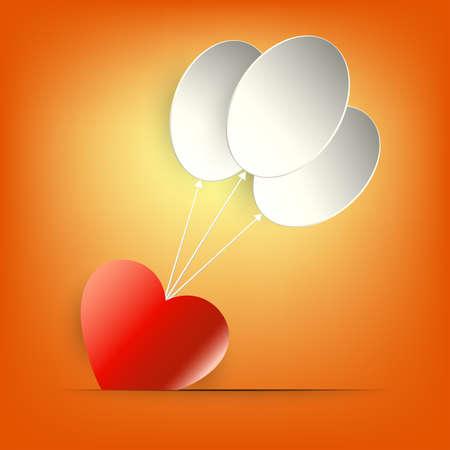 赤いハートと白い風船が付いたオレンジ色のデザイン