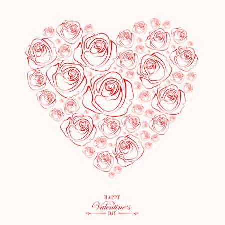 バラの花のシルエットで描かれたハートデザイン