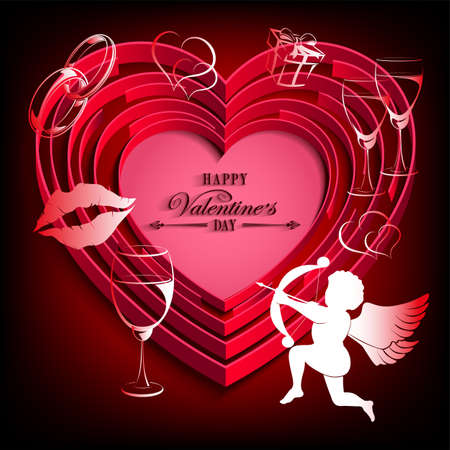 black design with red heart and cupid Vector illustration.