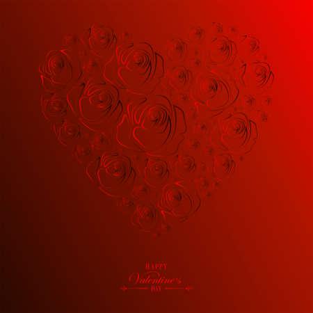 バラのシルエットから描かれた赤いハート型のデザイン