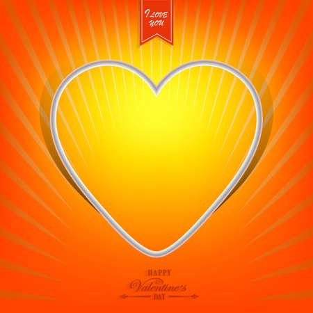 Projeto alaranjado com a silhueta branca da ilustração do coração. Foto de archivo - 93801843