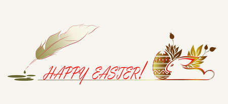 silhouette of easter bunny with egg and fountain pen with blots