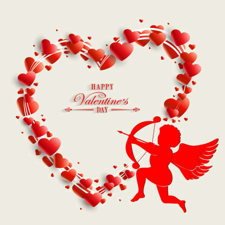 Silhouette of the heart with cupid