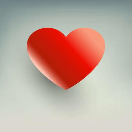 明るい背景に影を持つ赤い心のシルエット