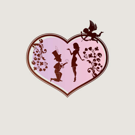 Silhouette of the heart with a guy on his knees, a girl and Cupid