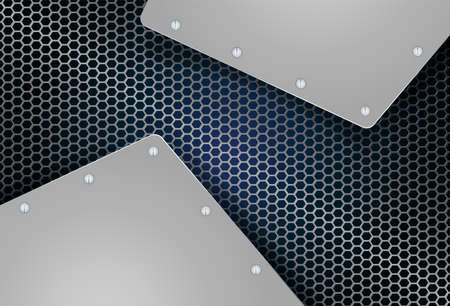 Geometric background, mesh, metal grille with frames and bolts 向量圖像