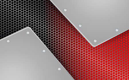 geometric background with metal grille with two frames