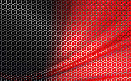 Red geometric background with wavy metal grille Ilustrace