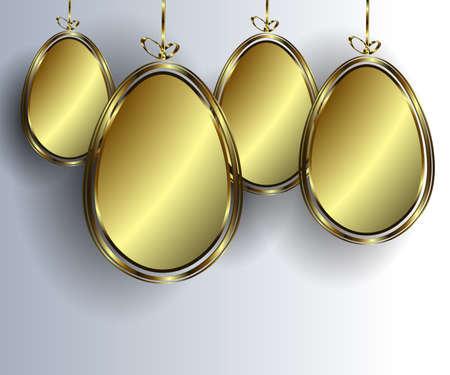 Hanging golden eggs, vector illustration on gray background.