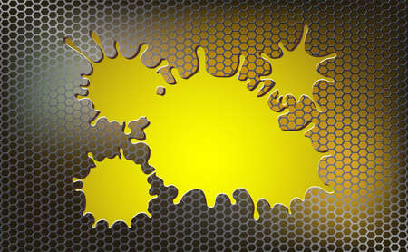 Geometric background with metal grille and yellow blot 向量圖像