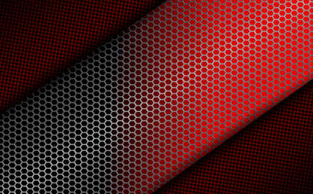geometric dark red design with metal grille Vector illustration. Ilustrace