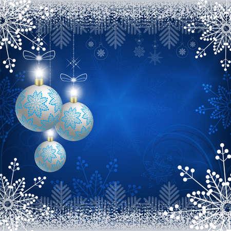 Christmas blue design with snowflakes, white christmas balls