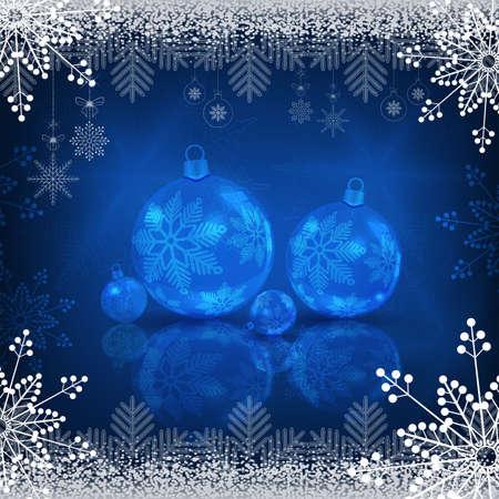 Christmas blue design with shiny balls Ilustracja
