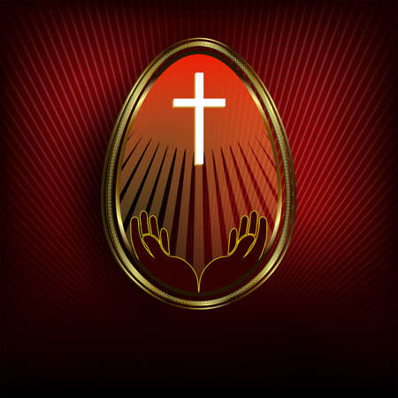 Easter egg with a gold border on a dark red background. Illustration