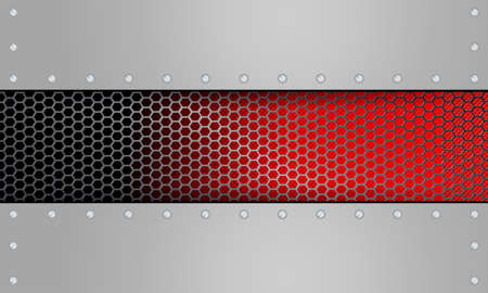 Geometric red design with metal grille Vector illustration.