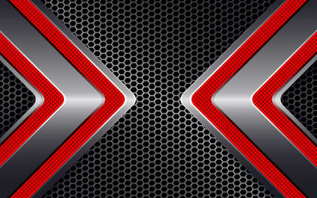 Geometric black background with arrows and metal grille.