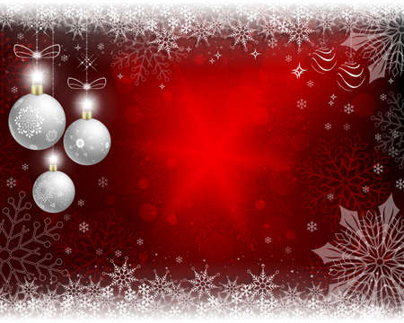 Christmas red background with white balls.