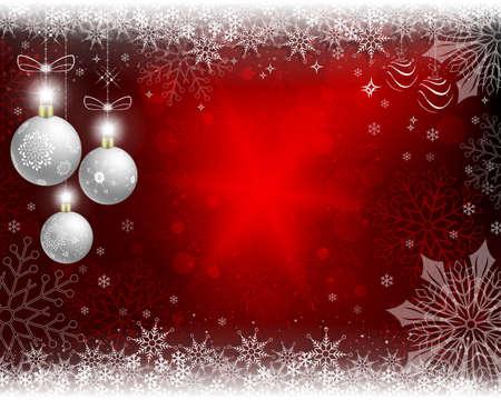 Weihnachtsroter Hintergrund mit weißen Kugeln. Vektorgrafik