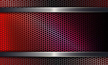Geometric background with a metal grille of a red hue.