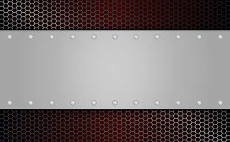 Metal grille and rectangular frame with screws illustration
