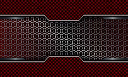 Geometric dark red background with metal grille.
