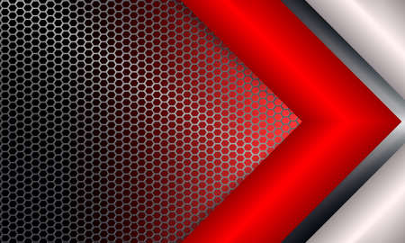 Geometric background with metal grille and white, red arrow.