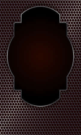 Geometric dark background with a metallic shade and an oval frame.