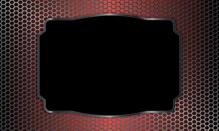 Geometric background with metal grille and rectangular frame.