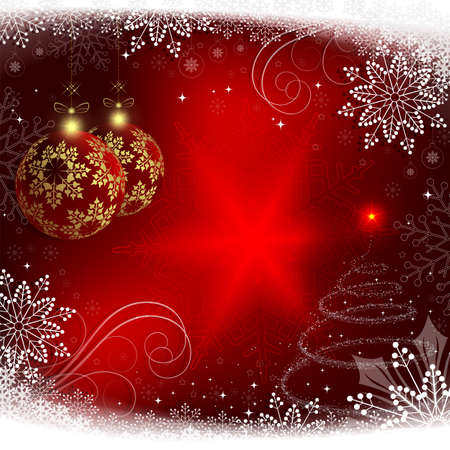 Christmas red background with red balls and a Christmas tree.