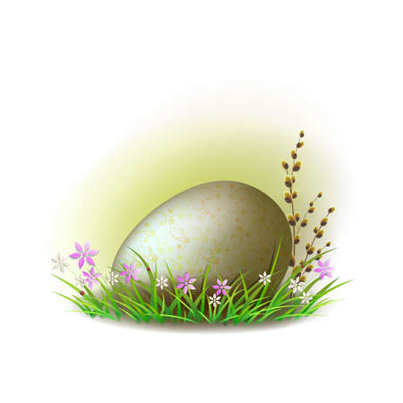 Easter egg with a branch of willow on a green grass with flowers. Vector illustration.