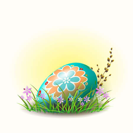 Easter egg of turquoise color with a pattern, with flowers. Çizim