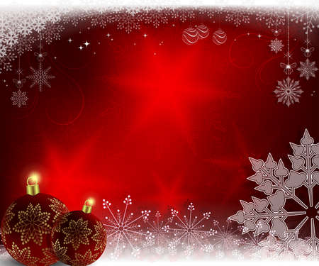 Christmas red background with burgundy balls and snowflakes.