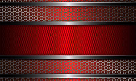 Design with metal grille and frame in red illustration.
