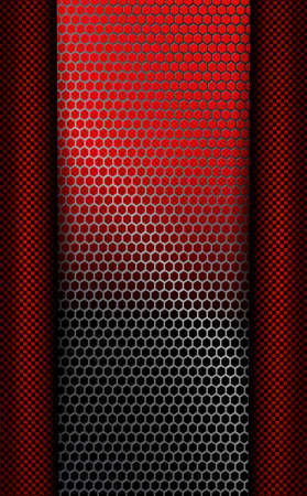 Design with a metal grille of red and black shades with dark stripes on the sides.