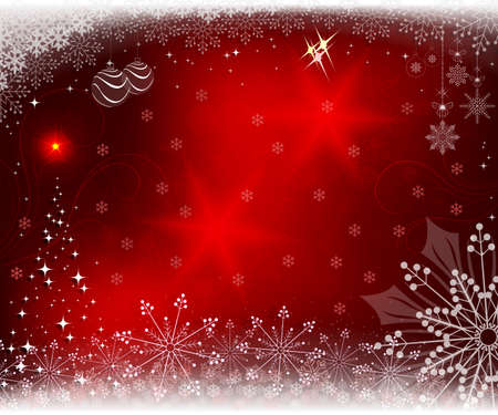 Christmas red background with shiny Christmas tree, snowflakes and Christmas toys.