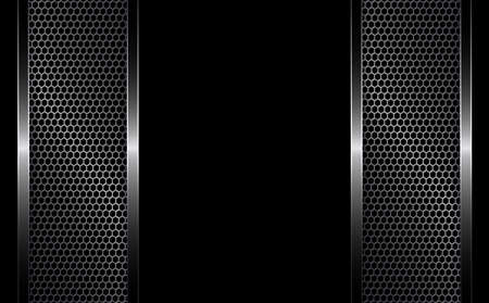 Black background with metal grille.