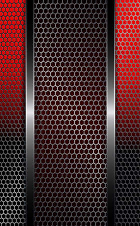 Black, red background with metal grille.