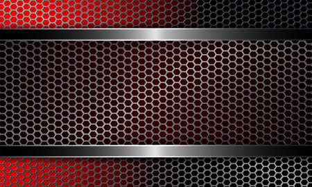 Background with a metal grille and a frame of red and black shades.