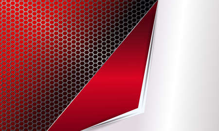Background with a metal grille and a frame of red and white shades.