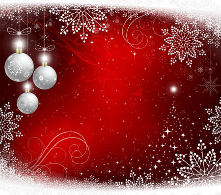 Christmas red background with white balls and snowflakes. Illustration