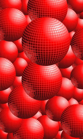 Red textured background with lots of shiny balls. Ilustração