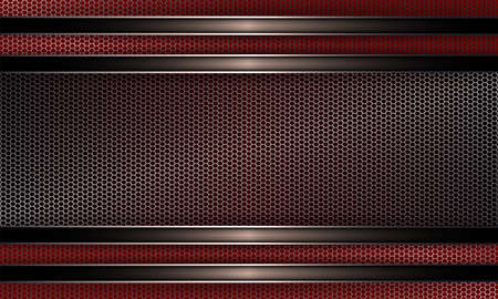 Geometric background with metal grille and rectangular frame with shiny border.